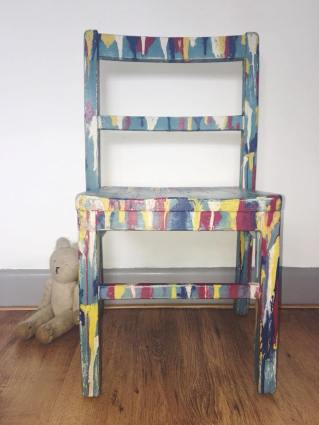 CIRCUS. Hand painted distressed children's chair. Selling for £20.