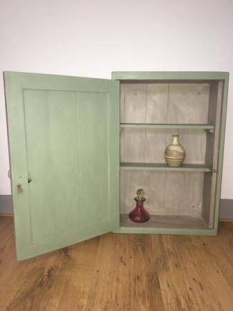 Lovely hand painted distressed cabinet. 40cm wide & 61cm high. Depth 14cm. Selling for £45.