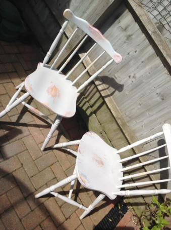 Set of 4 distressed dinning chairs. SOLD